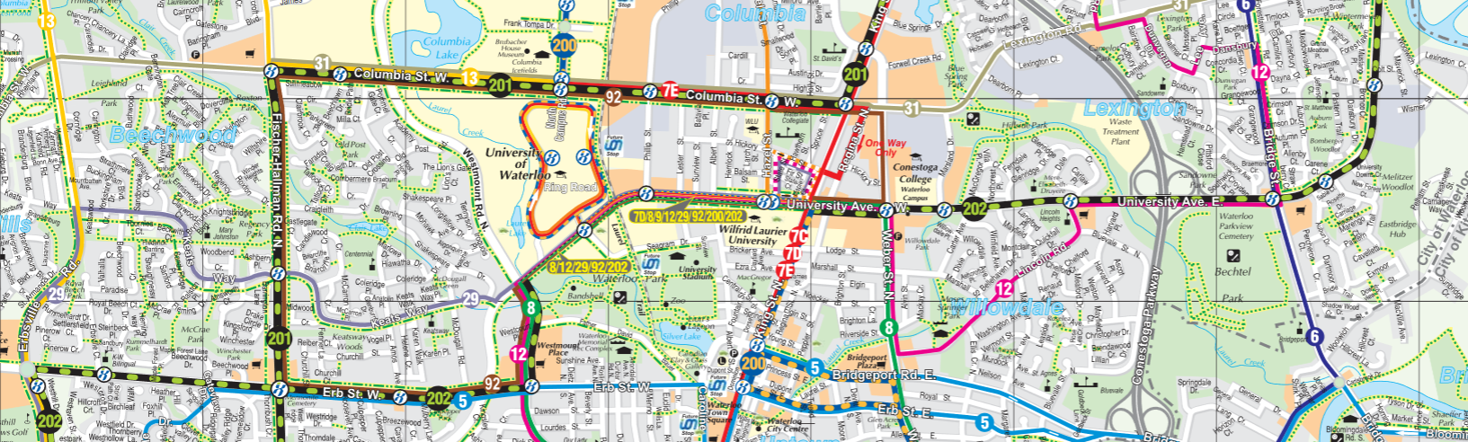 The 202 is Waterloo's best cross-town route, extending to Erb West and University East.