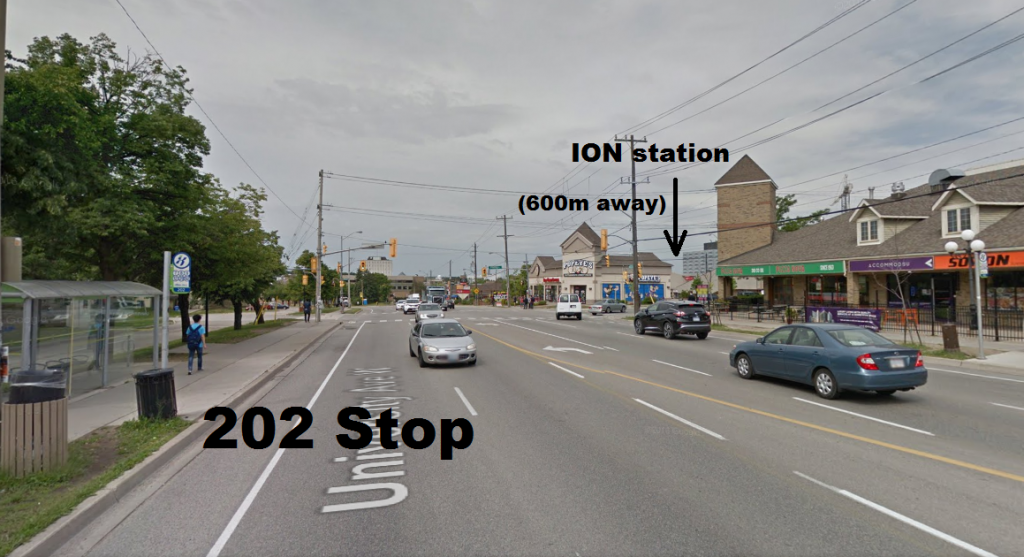 Despite crossing each other, the 202 and ION stops are a long way apart.