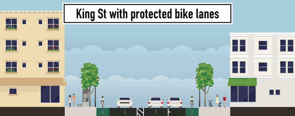 King St. with protected bike lanes