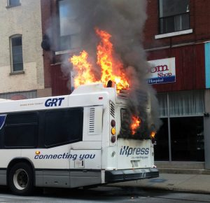 GRT bus fire