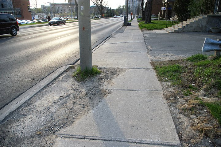 Gravel on sidewalk