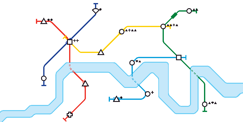 "Screenshot from the game ""Mini Metro"""