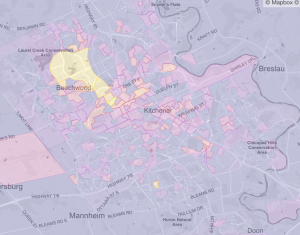 Map of cycling mode share in Kitchener and Waterloo