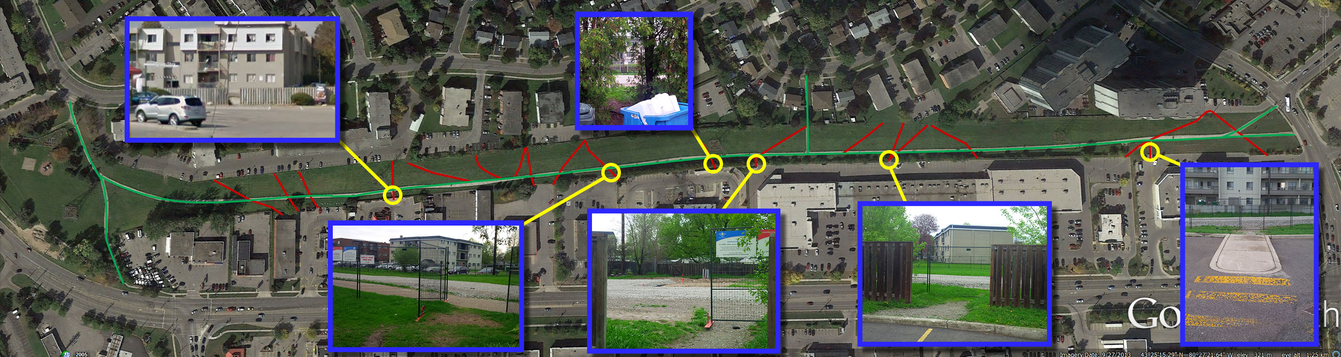 Formal paths in green. Informal paths in red. Selected crossings shown with inset photos