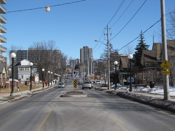 Queen St, Kitchener. In the middle is a pedestrian refuge.