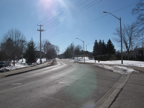 West Ave, Kitchener. Most trail users cross here (as did the old railway), though they are supposed to go to the signalized intersection with Victoria St.