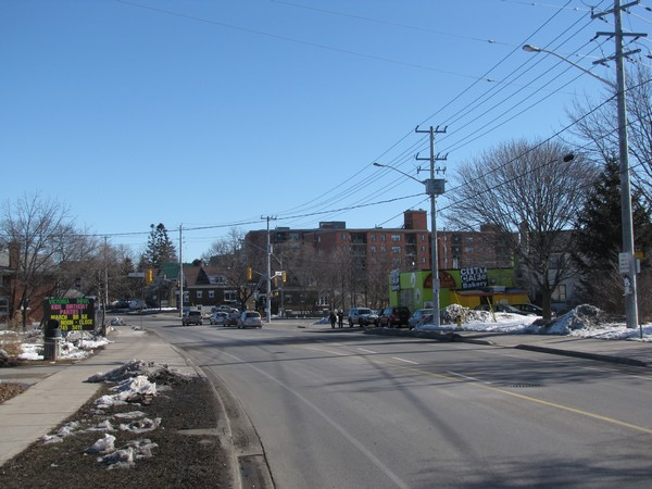 Victoria St, Kitchener. Most cross the busy road here and cut straight through instead of taking the long detour to the light.